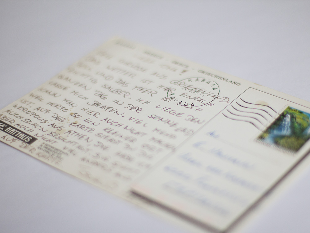 Auf alten Postkarten findet man die schönsten Geschichten. Wie auf dieser hier aus Athen vom August 1988